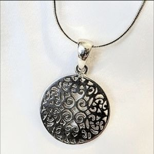 Sterling silver scroll pendant necklace and chain